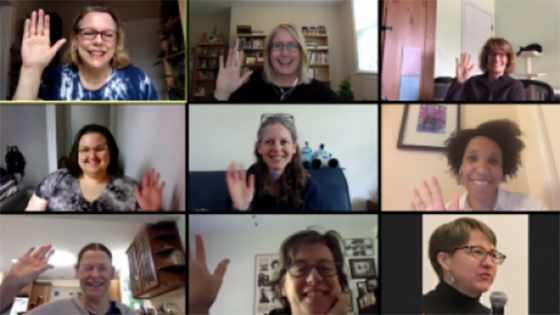 9 members of May 1 writing group on Zoom